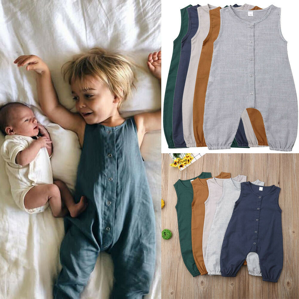 0 24Month Newborn Baby Boy Girl Clothes Cute Kids Cotton Linen Romper Solid Sleeveless Striped Jumpsuit Outfit Summer Romper GY in Rompers from Mother Kids