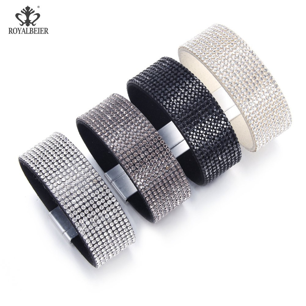 New fashion leather strap wrapped cuff punk magnetic drill buckle necklace