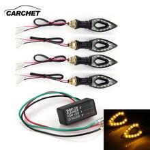 Carchet 4X мотоциклетные Янтарь 12 LED поворотов свет лампы + Flasher огни 12 В 1 Вт индикатор мигалка флэш-велосипед лампы