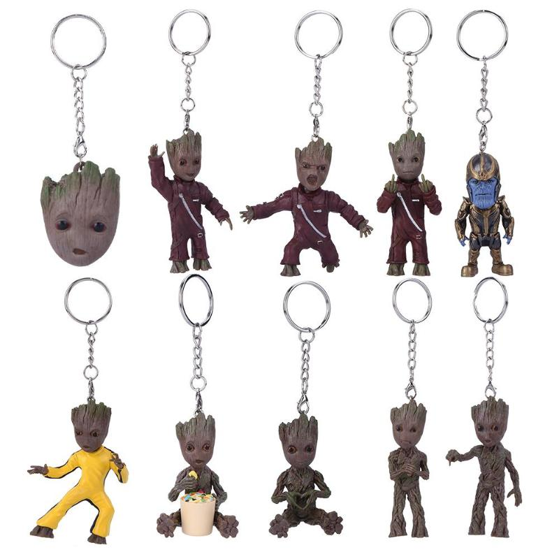 New  Baby Groot Action Figures Toy Key Chain Home Ornament Cute Model Toy for Kid Cartoon Tree Man Keych
