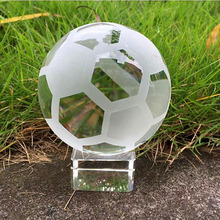 60mm Clear Asian Quartz Crystal Football Sphere Fengshui Glass Ball Gift Paperweight Home Decoration& Ornaments Sports souvenir