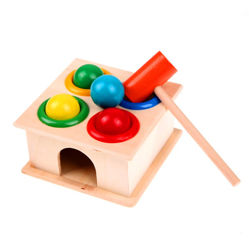 1 Set Wooden Hammering Ball Hammer Box Children Fun Playing Hamster Game Toy Early Learning Educational Toys