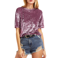 Female Ladies Casual Tops Women Tops For Spring Vintage Blouse Pink Drop Shoulder Short Sleeve Velvet
