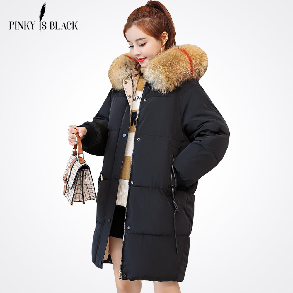 PinkyIsBlack 2018 Long   Parkas   For Women Winter Coat Faux Fur Collar Hooded Cotton Slim Warm Jacket Women Winter Jackets And Coat
