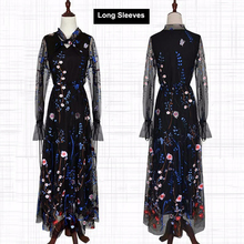 Newest Fashion Runway Maxi Dress Women elegant Long Sleeve Tulle Gauze Flower Floral Embroidery Black Vintage Summer Long Dress
