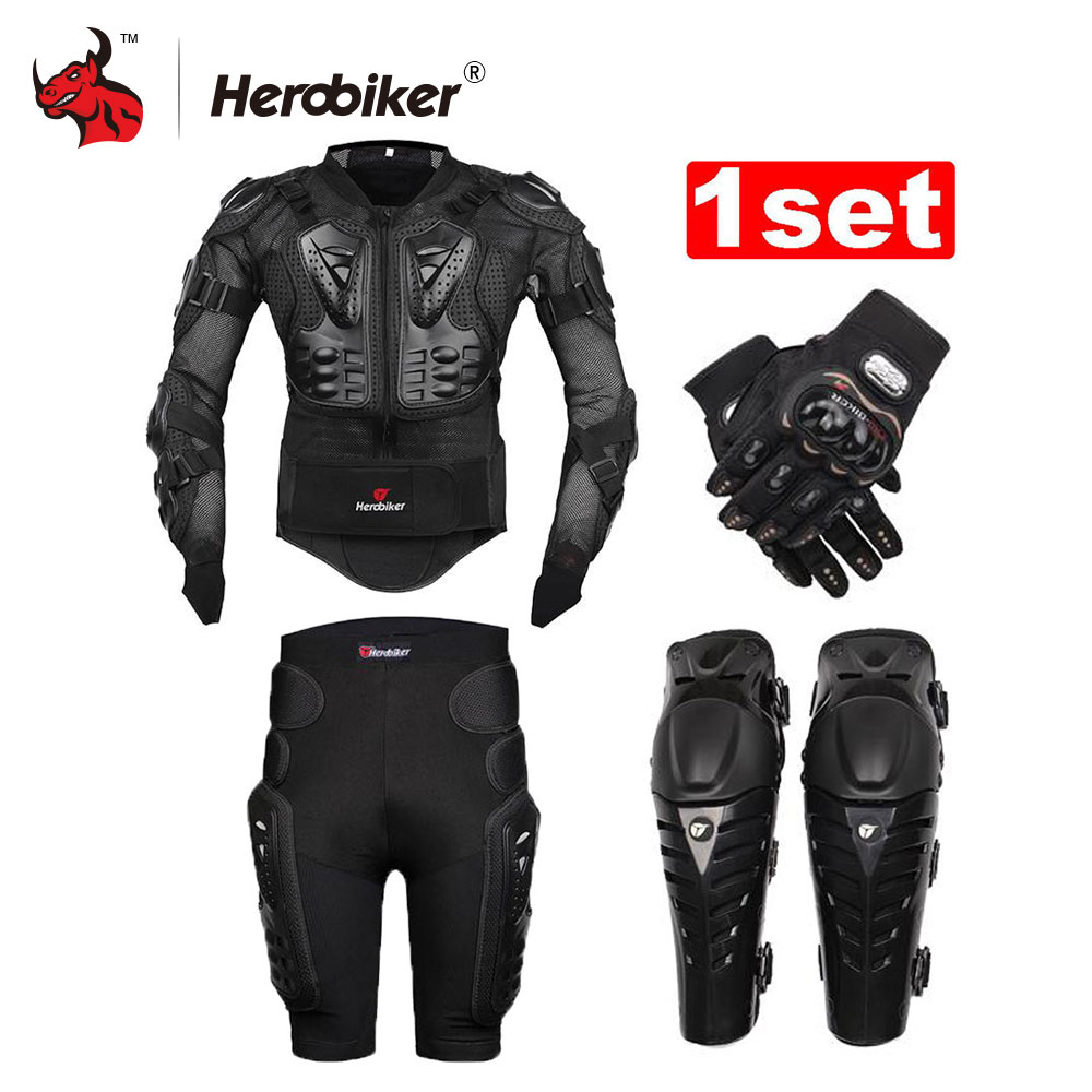 HEROBIKER Unisex Motorcycle Body Armor Protective Jacket+ Gears Short Pants+protective Motorcycle Knee Pad+gloves herobiker armor removable neck protection guards riding skating motorcycle racing protective gear full body armor protectors
