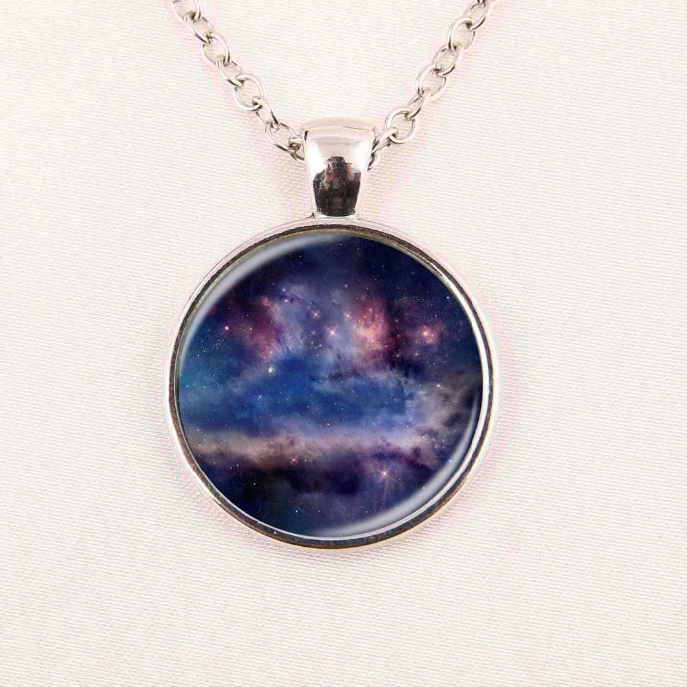 2016 New Fashion Galaxy Glass Necklaces Nebula Space Cabochon Pendants Brand Jewelry for Women Men Best Friend Ship Gift