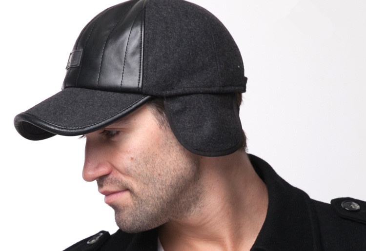womens baseball cap with ear flaps for sun protection casual warm caps winter hat middle aged leather