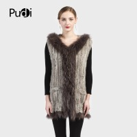 Pudi VR018 new winter women vest Genuine Knitted Rabbit Fur Vest with Raccoon Fur Hoody Winter long Vest