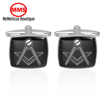 MeMolissa Freemasonry free masons cufflinks high quality stainless steel enamel French shirts cufflinks fashion brand gift Fstes
