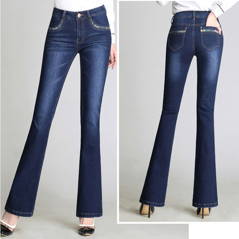 Brand Pants 2019 Elastic Skinny Washed Soft Cotton Jeans Women High Waist Flare Pants Plus Size Blue Office Lady Trousers