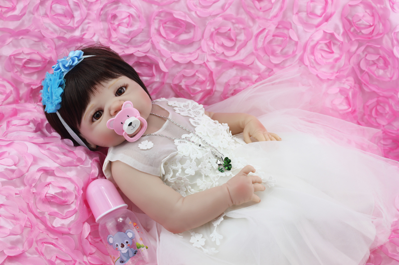 Full Body Silicone Reborn Baby Doll Toys 55cm Princess  Newborn Girl Babies Doll With Evening Dress Kids Birthday Present 18inches newest princess girl full body reborn doll silicone dress toys for children full silicone reborn newborn baby dolls