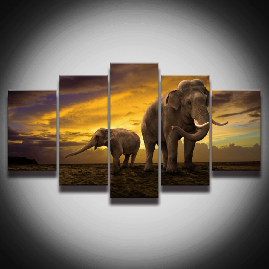 hd printed african elephant picture painting canvas art frame 5 panels sunset landscape wall decor for