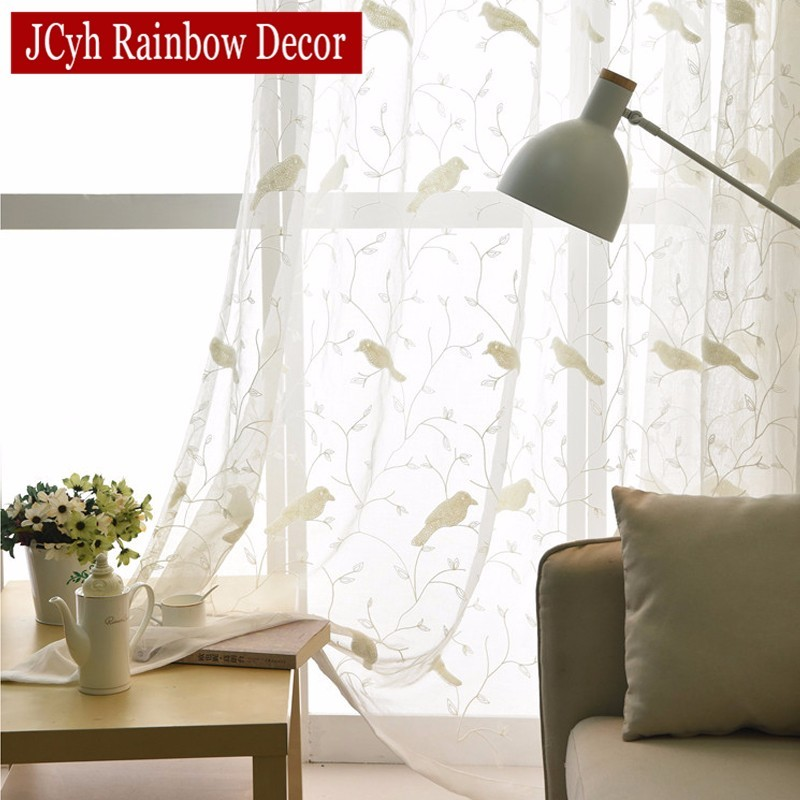 Pastoral Style Bird Embroidered Curtains For Living Room White Sheer Curtains Tulle For Kitchen Window Curtains Fabric Voile