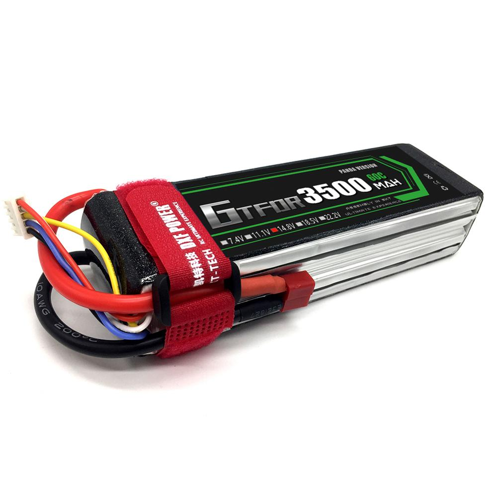 GTFDR High Quality Rechargeable <font><b>4S</b></font> 14.8V <font><b>3500MAH</b></font> 60C-120C <font><b>Lipo</b></font> Battery For RC Toys Models FPV Drone Boats RC CAR RC Parts image