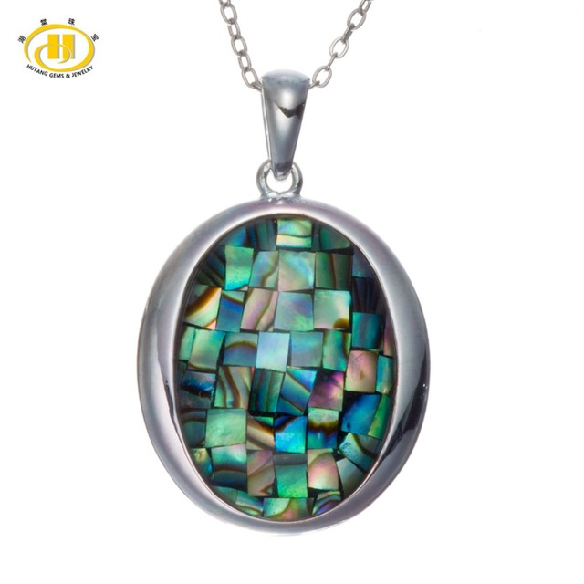 """Rainbow Triplet Mosaic Abalone Shell Solid 925 Sterling Silver Pendants & Necklaces 18"""" Chain Fine Jewelry"""