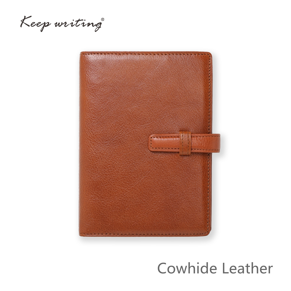 Cowhide Leather NOTEBOOK with 45 sheets <font><b>100gsm</b></font> <font><b>paper</b></font> lined pages stationery small agenda Journal notes real leather pocketbook image
