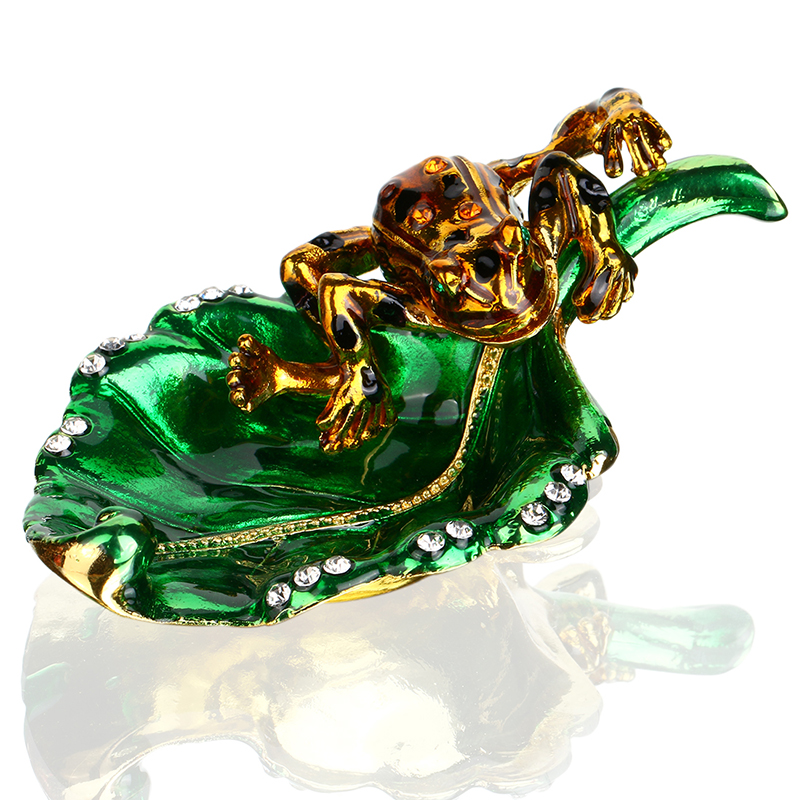 1.2inch Metal Frog in Leaves Figurines Wedding Ring Trinket Box with Crystal Holder Earr ...