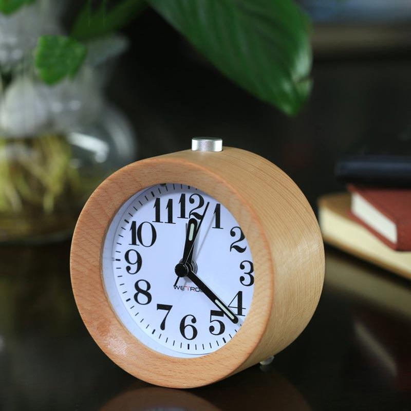 Silent Desk Snooze Beech Wood Round Alarm Clock Mute Clocks with Nightlight TB Sale