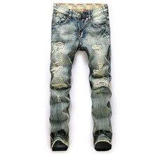 2016 новый высокое качество мужские джинсы свободного покроя прямые джинсы отверстие мужчин джинсовые брюки байкер джинсы