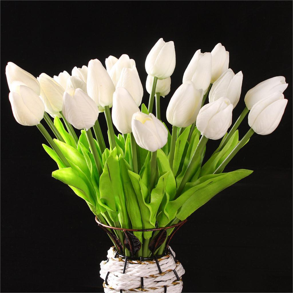 Compare prices on white tulip bouquets online shoppingbuy low meof newest tulip artificial flowers bouquets decorative silk flower home wedding decoration no vase dhlflorist Image collections