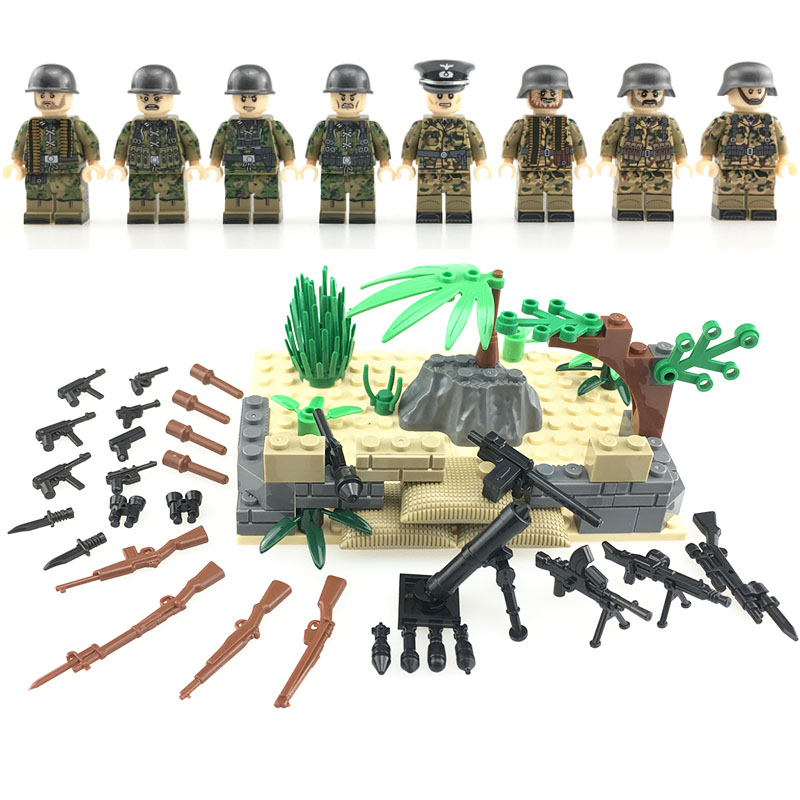 German Assault Special Force Soldiers Building Block WW2 Military Soldiers Figures Accessory Toy Model Army Weapons Bricks цена