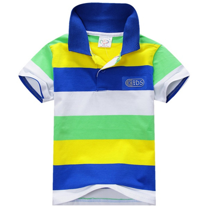 Summer Boy Striped Short Sleeve T-shirt Kids Children Boys Tee Tops Shirt Hot Selling 1-7T