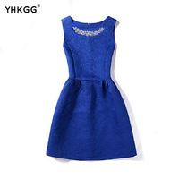 The New Collection Of Spring Summer Autumn Female Stripe Sleeveless Solid Color Ball Gown Dress Sundress