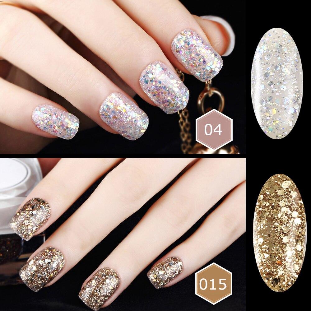 6ML KCE Diamond Glitter Gel Varnish Nail Gel Polish UV Lamp Long ...