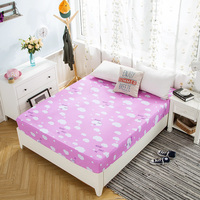 Pink clouds pink cartoon pattern 1 Piece Fitted Sheet Mattress Cover Bed Sheet Elastic Band Mattress Protector 2 Sizes Soft