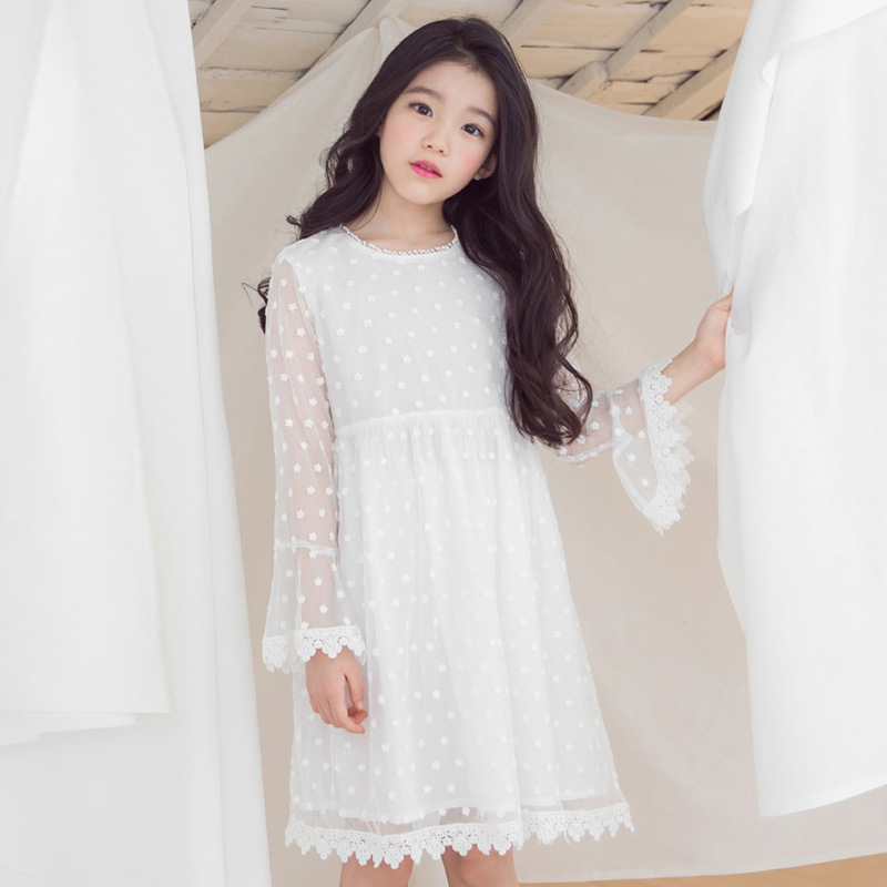 embroidery long teenage girl long sleeve dress summer spring 2018 mesh cute white princess dress girl party dress baby birthday laser cut insert bishop sleeve embroidery dress