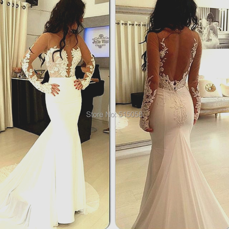 Vestido De Noiva 2017 New Elegant Lace Applique Tulle: Elegant Lace Appliques Backless White Mermaid Wedding