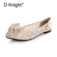 Women Ballerinas Fashion Bow Pointed Toe Slip On Women Flats Ladies Casual Breathable Lace Ballet Flats