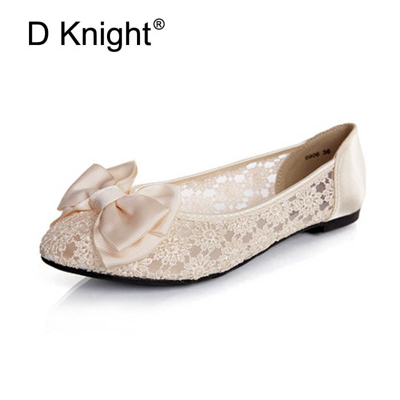 Women Ballerinas Fashion Bow Pointed Toe Slip-on Women Flats Ladies Casual Breathable Lace Ballet Flats Women Flat Wedding Shoes pu pointed toe flats with eyelet strap