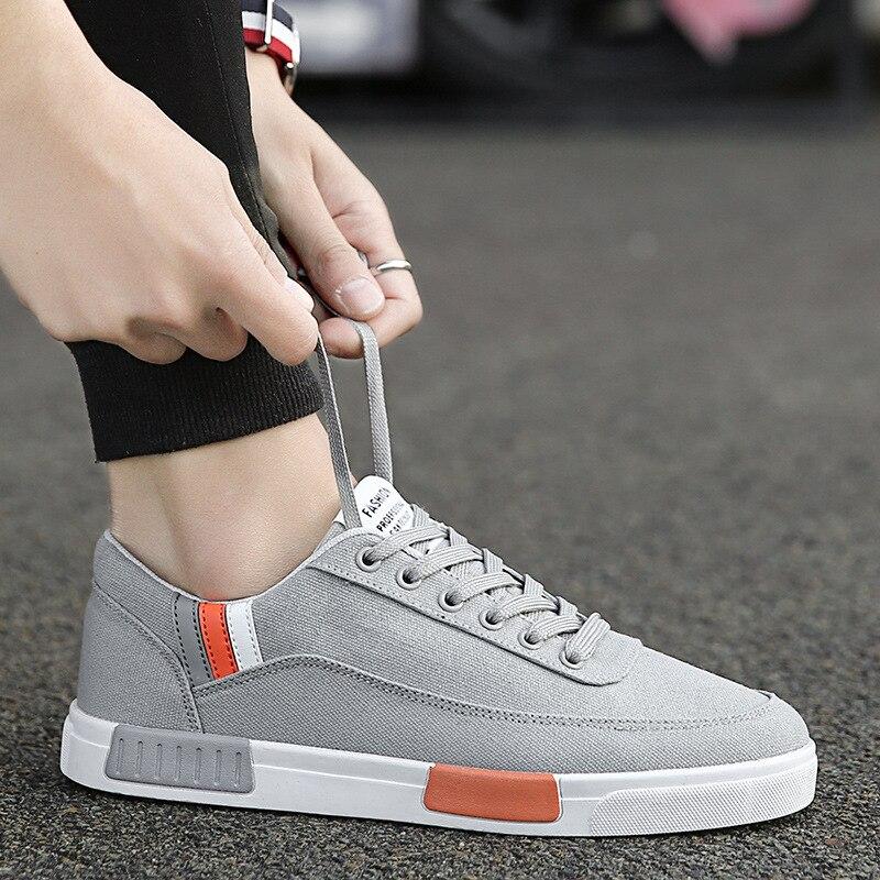 אופנה פנאי שטוח לגפר נעלי לגברים מעורב צבעים תפירת שרוכים נעלי בד קיץ מזדמן בני סטודנטים סניקרס