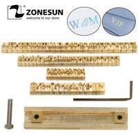 ZONESUN T slot Custom Logo Brass Letter Set Mold Hot Foil Leather Stamp Copper Alphabet Press Customized DIY Character Mold