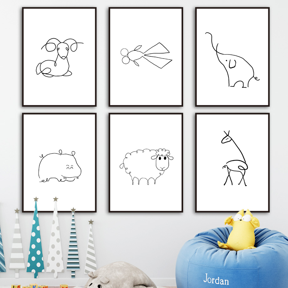 Cartoon Deer Sheep Fish Elephant Line Drawings Nordic Posters And Prints Wall Art Canvas Painting Pictures Kids Room Decor