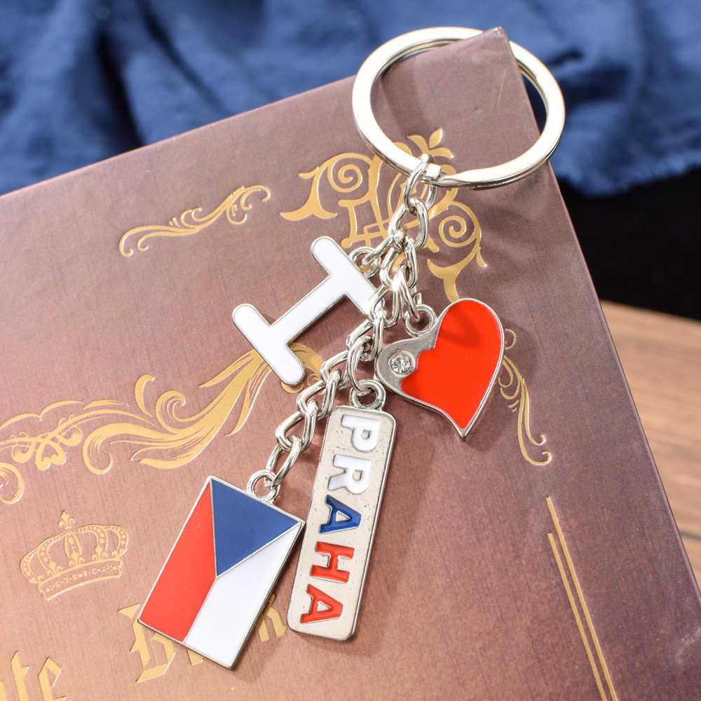 Vicney Checa Chaveiro EU Amo Praga Praga Keychain Liga de Zinco Chaveiro Para Chave de Viagem do Presente Da Lembrança Para Melhor amigo