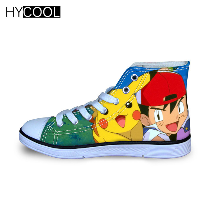 HYCOOL Pikachu Pokemon Pocket Monsters Breathable Canvas Shoes Sport Shoes For Boys And Girls Kids Skateboard Shoes Kids Sneaker