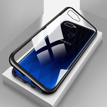 Metal Magnetic Case for OPPO F11 Pro F9 F7 Adsorption Glass Cover Reno A3S A5 A7 R17 coque