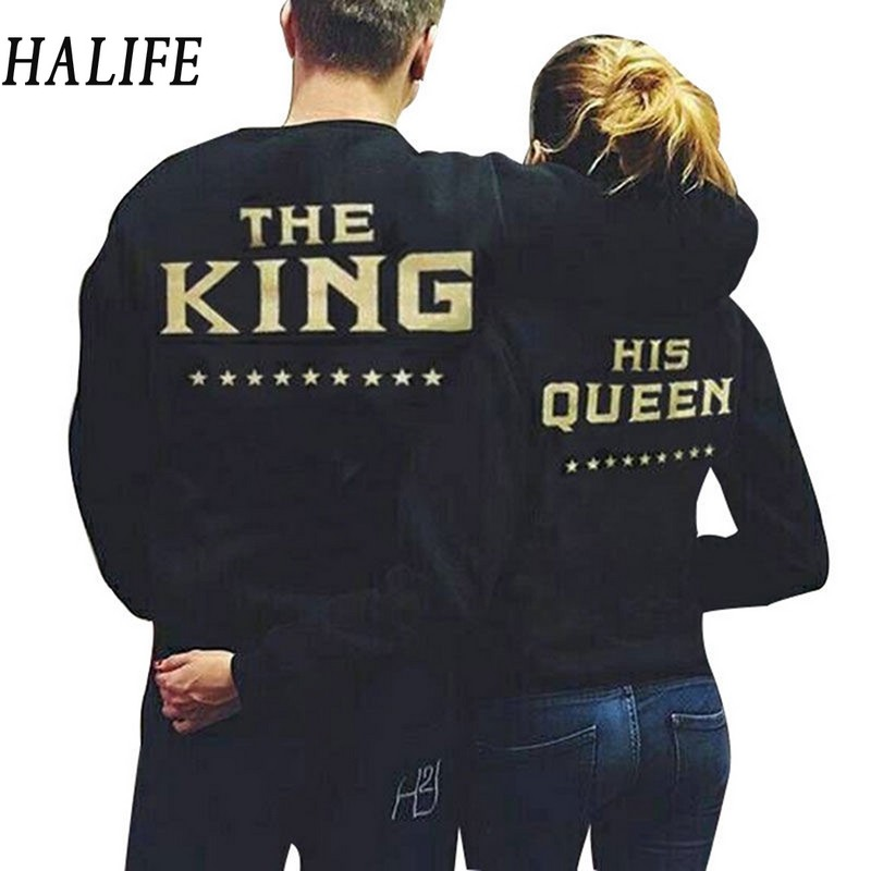 HALIFE Fashion King Queen Women Men Couple Clothes Sporting Long Sleeve Letter Print Black TShirt Couple T Shirt For Lovers 940