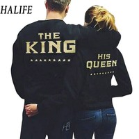 HALIFE Fashion King Queen Women Men Couple Clothes Sporting Long Sleeve Letter Print Black TShirt Couple