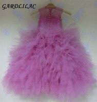 Stunning Pink Flower Girl Dresses For Weddings 2017 Kids Long Sleeve Communion Dress Beads Ball Gown