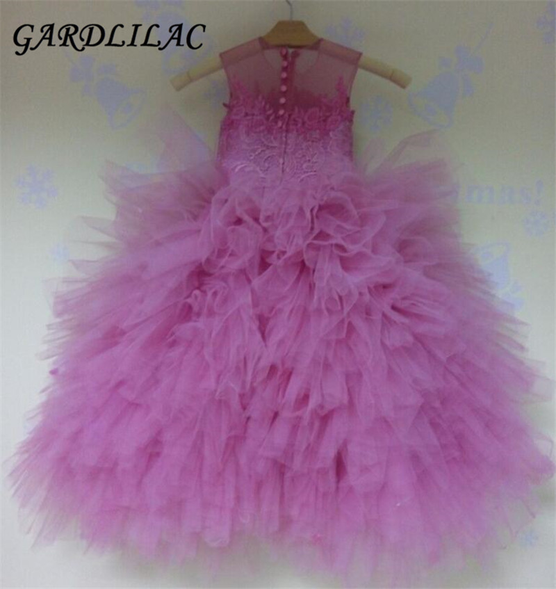 Robes de fille de fleur magnifique pour les mariages 2017 enfants robe de communion sans manches robe de bal filles robe de fille halloween