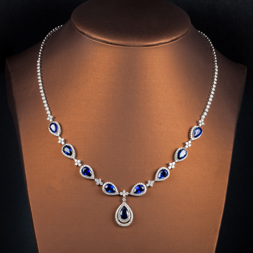 sapphire gold design set flowers blue finish stones black online plated necklace cz buy