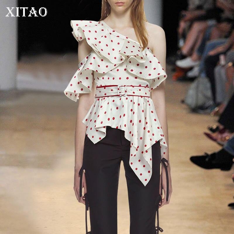 [XITAO] Spring 2018 New Arrival Sleeveless Casual Korean Women T-shirts Print Polka Dot Irregular Ruffles Fashion Tees XWW3720