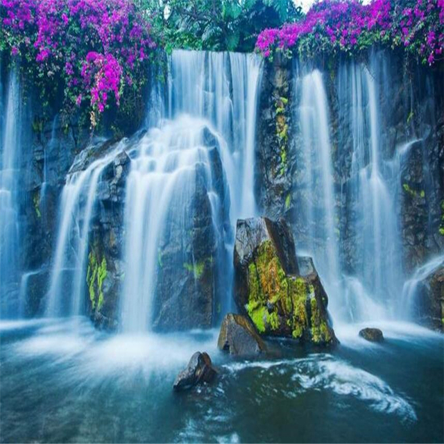 Beibehang Custom 3D Wallpaper Waterfall Country Landscape Aesthetic Falls Background Decoration