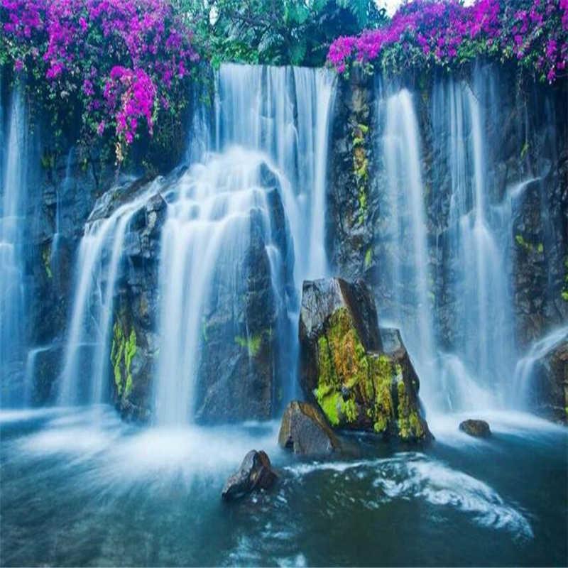 beibehang Custom 3D Wallpaper Waterfall Country Landscape Aesthetic Falls Landscape Background Wallpaper Decoration.jpg q50