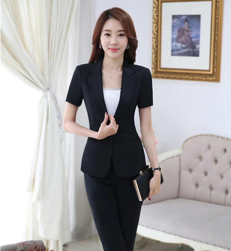 Novelty Black Professional Formal Pantsuits Short Sleeve 2016 Summer Women Business Suits Pants And Jackets Female Trousers Sets