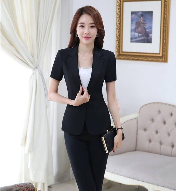9a7864ff8 Novelty Black Professional Formal Pantsuits Short Sleeve 2016 Summer ...